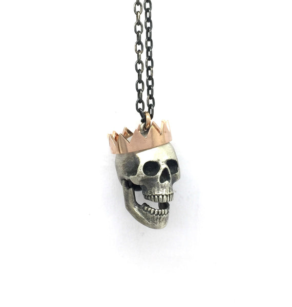 Large Paper Crown full skull necklace