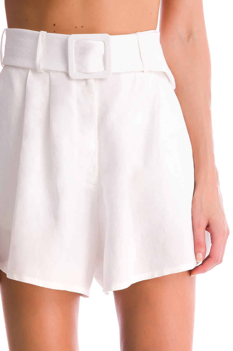 Shorts Curto Pregas Cinto Color Orchid