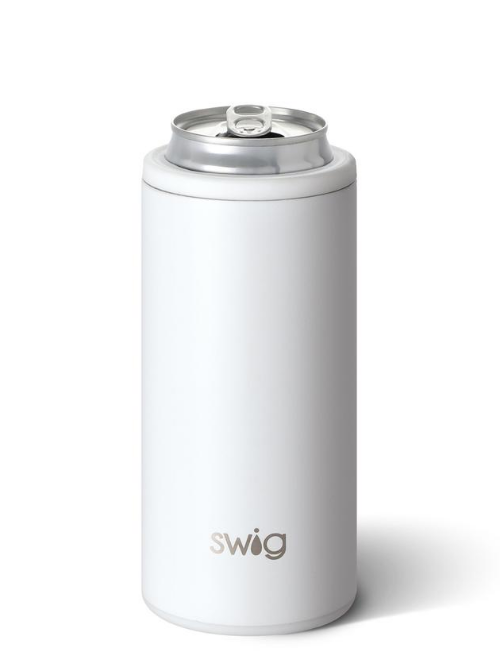 Swig-Matte White-Skinny Can Cooler