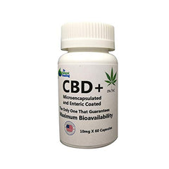 CBD+ Organic Hemp Oil Cannabidiol Capsules - Micro-encapsulated & Enteric Coated Maximum Bioavailability - 1-Capsule(10mg) = 100mg