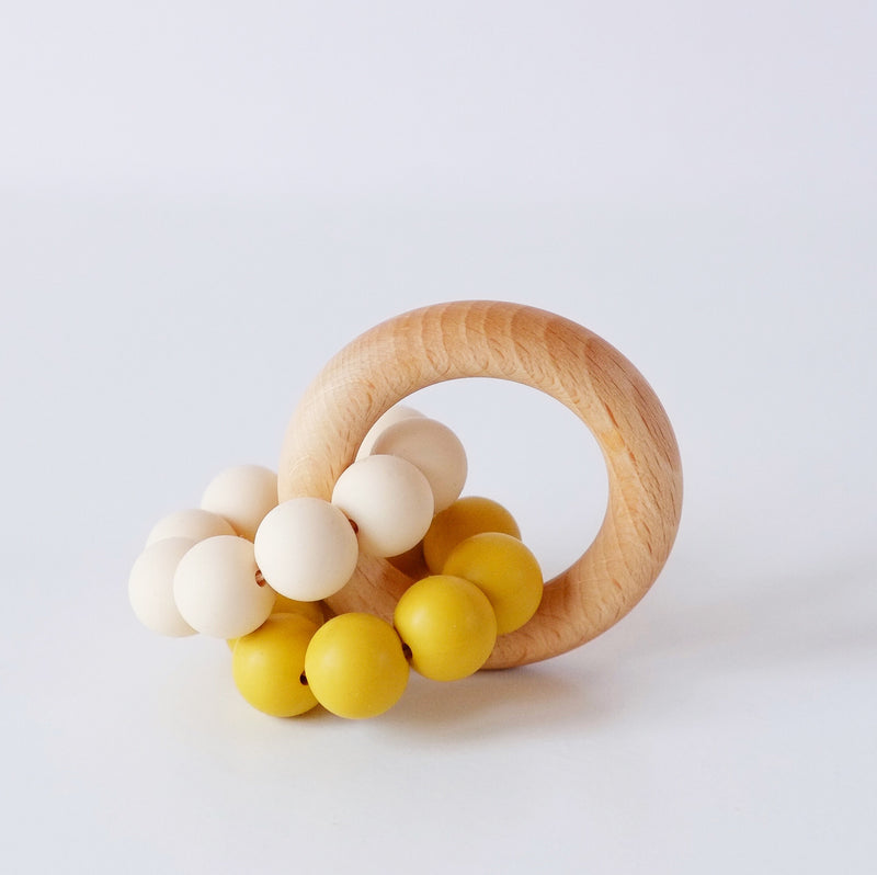 Mustard yellow ombre silicone teething ring toy - Blossom&Bear