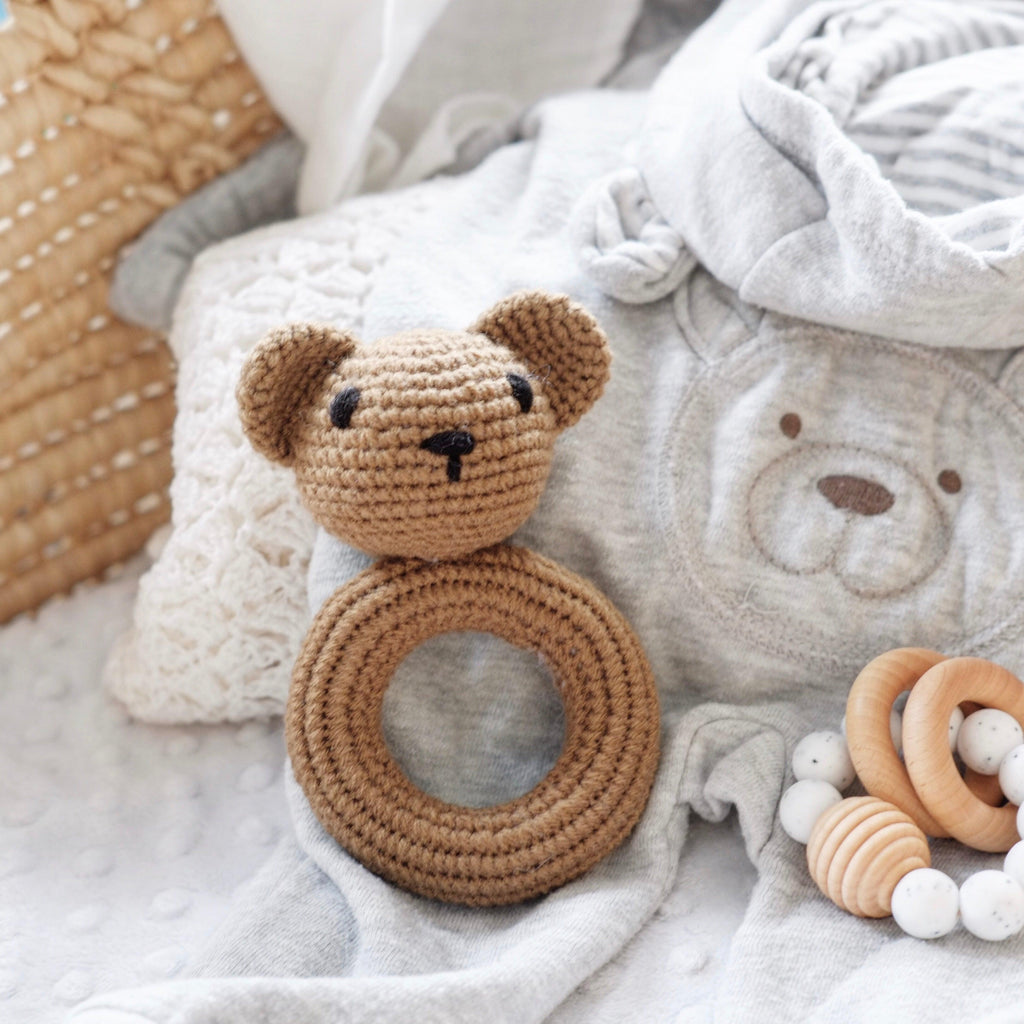 Crochet Bear Baby Rattle toy - Blossom&Bear