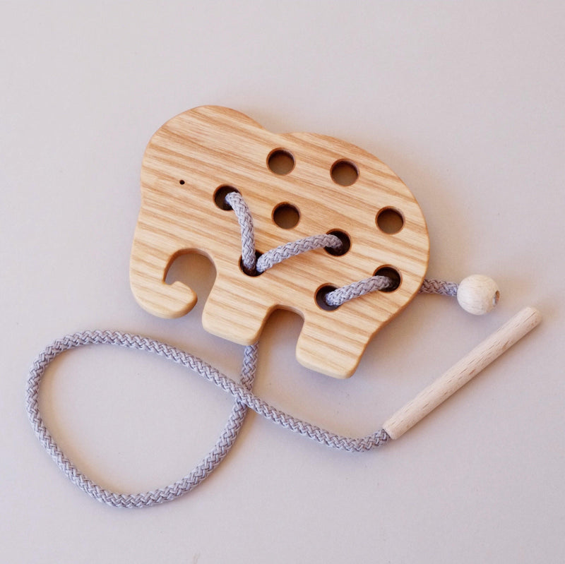 Elephant Wooden Lacing Toy