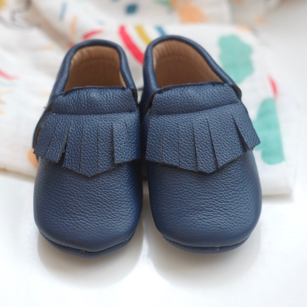 Navy Fringed Moccasins