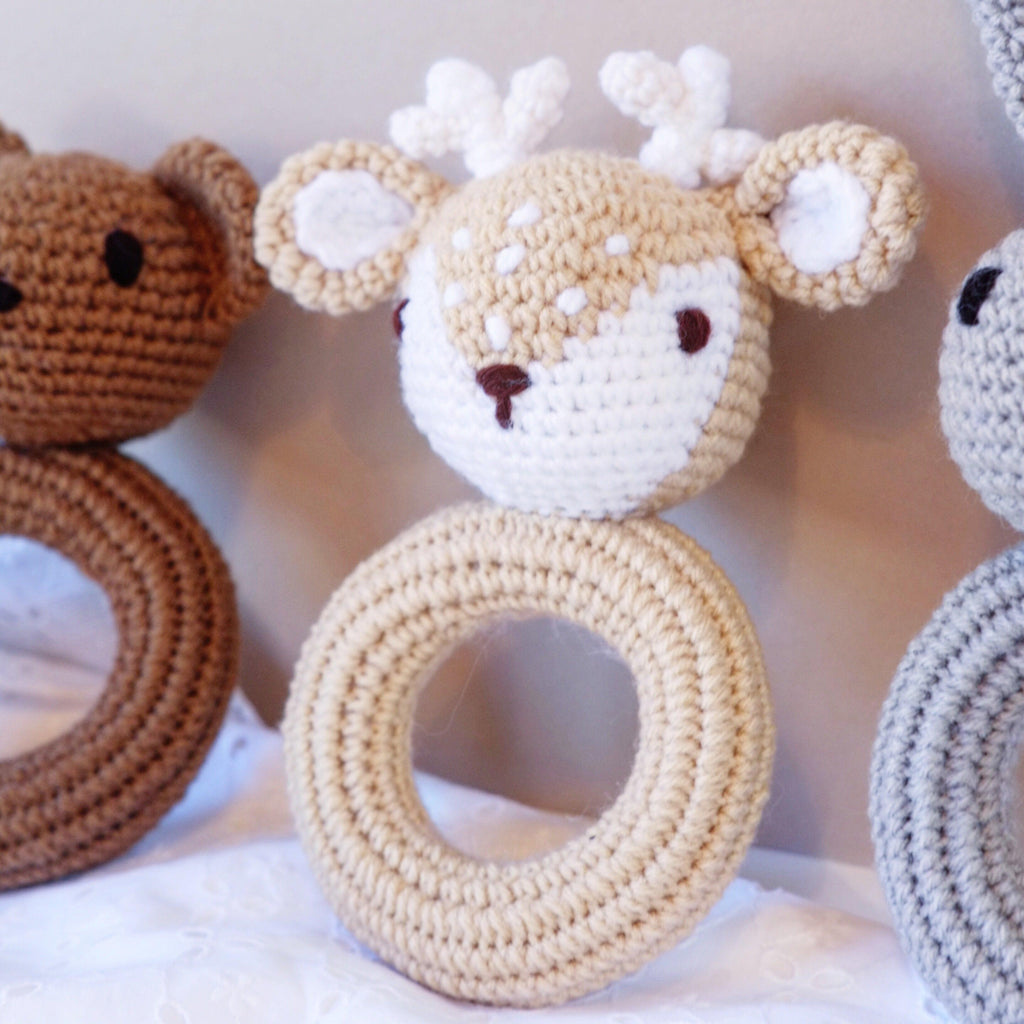 Crochet Fawn Baby Rattle Toy - Blossom&Bear