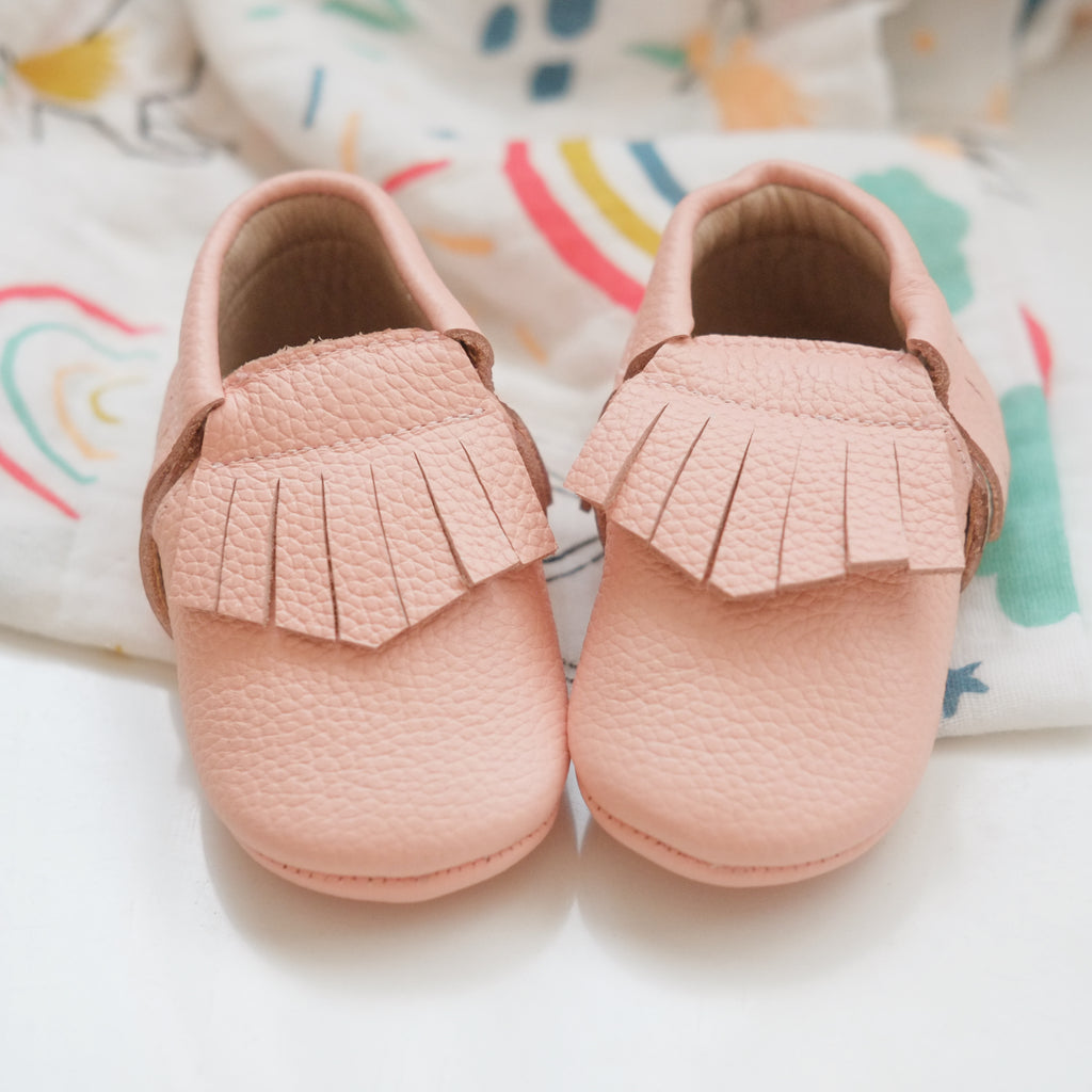 Peach Fringe Moccasin Shoes