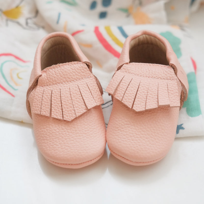 Peach Fringed Leather Moccasin Shoes