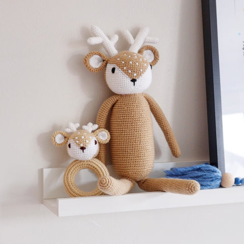 Crochet Fawn Baby Rattle Toy