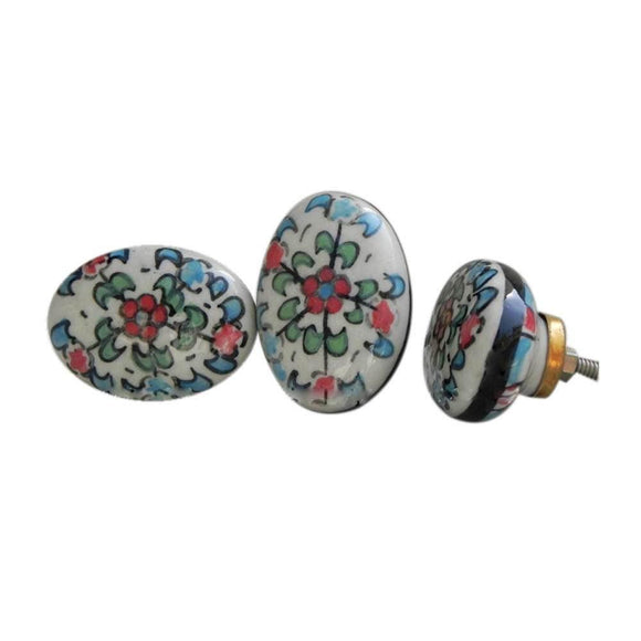 Flower Ceramic Oval Knob - Hand Painted