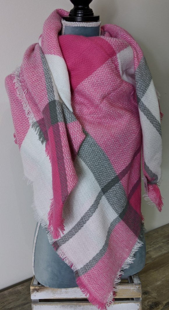 Blanket Scarf- Pink/White