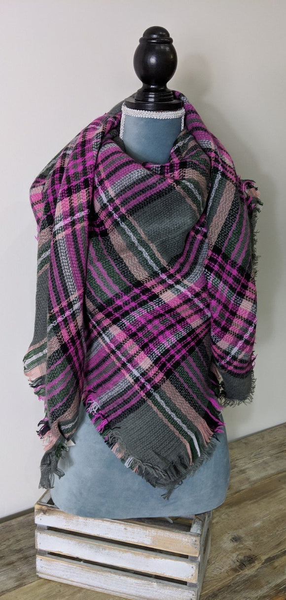 Blanket Scarf- Charcoal/ Bright Pink