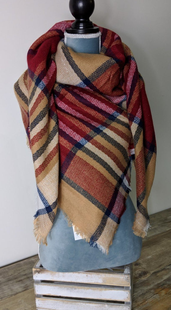 Blanket Scarf- Red/ Bronze