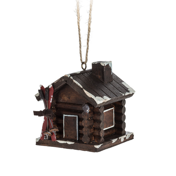 Cabin w/Skis Ornament