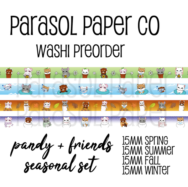 Pandy and friends seasonal CMYK washi tape preorder spring summer fall autumn winter