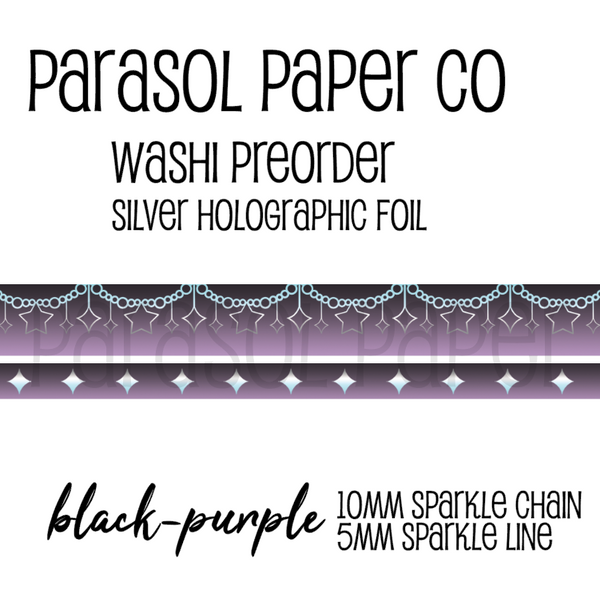 Black purple preorder sparkle chain line foil washi tape set