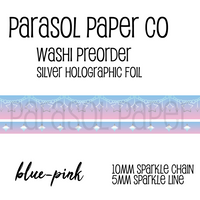 Blue pink preorder sparkle chain line foil washi tape set