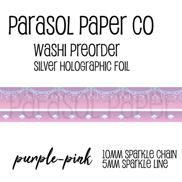 purple pink preorder sparkle chain line foil washi tape set