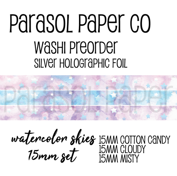 Preorder watercolor cotton candy cloudy misty skies foiled washi tape set