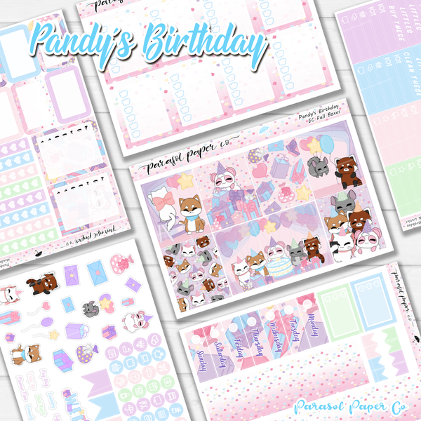 Vertical weekly planner kit Pandy and friends birthday