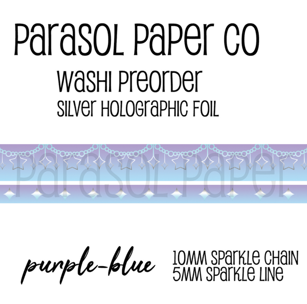 purple blue preorder sparkle chain line foil washi tape set