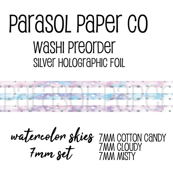 Preorder cotton candy cloudy misty skies foiled washi tape