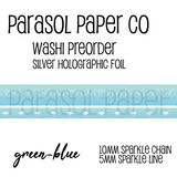 Green blue preorder sparkle chain line foil washi tape set