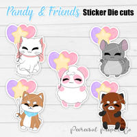 Pandy and Friends - Sticker Die Cut - Balloons
