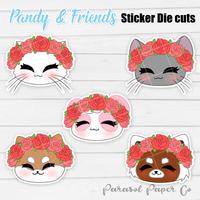 Pandy and Friends - Sticker Die Cut - Flower Crown