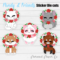 Pandy and Friends - Sticker Die Cut - Flower Wreath