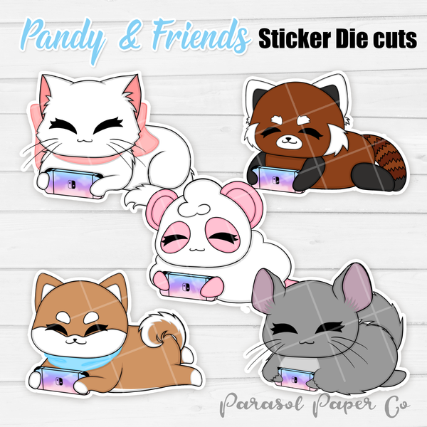 Pandy and Friends - Sticker Die Cut - Gaming