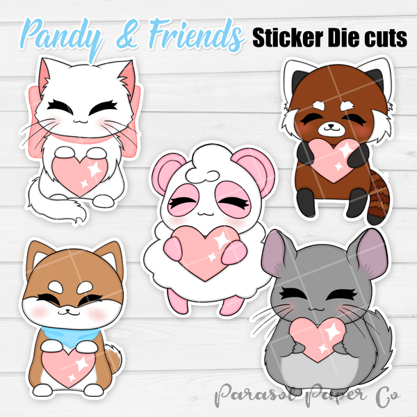 Pandy and Friends - Sticker Die Cut - Love