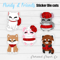 Pandy and Friends - Sticker Die Cut - Present Bow