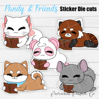 Pandy and Friends - Sticker Die Cut - Reading