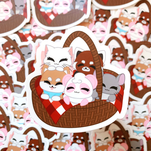 [WATERPROOF] Pandy and Friends Picnic Basket Vinyl Sticker Decal