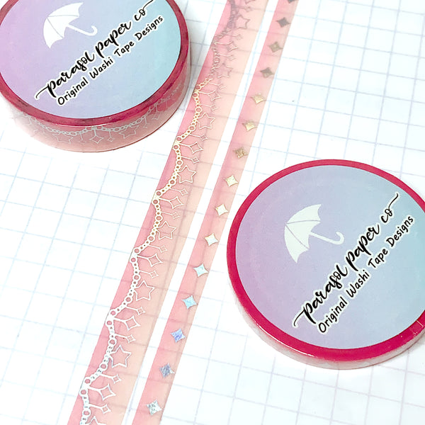 Pink-Orange Sparkle Foiled Washi Set