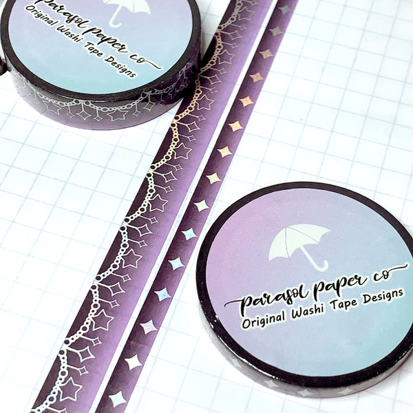 Black-Purple Sparkle Foiled Washi Set