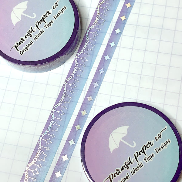 Purple-Blue Sparkle Foiled Washi Set