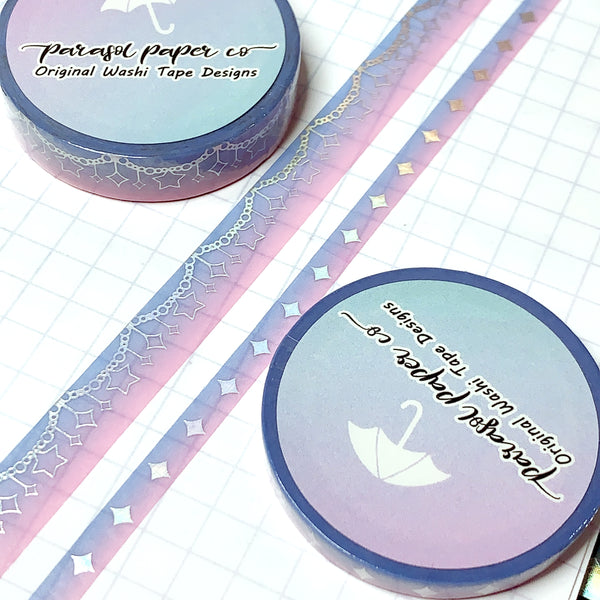 Blue-Pink Sparkle Foiled Washi Set