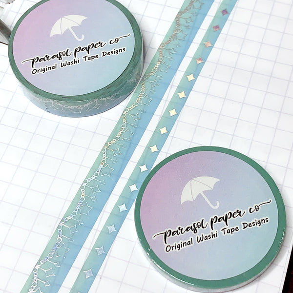 Green-Blue Sparkle Foiled Washi Set