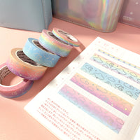 Pastel Rainbow Sparkle Line Foiled Washi
