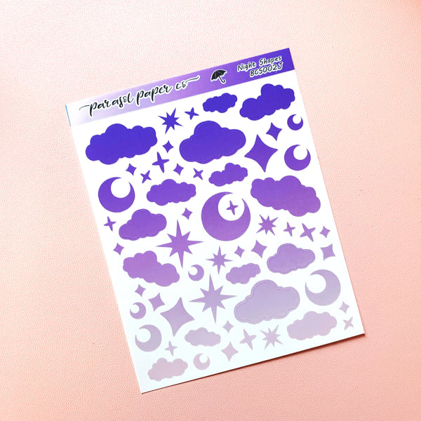 Bujo Deco Shapes - Night CLEAR- BCS002