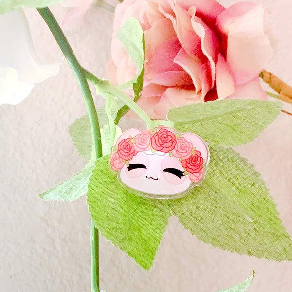 Flower Crown Pandy Acrylic Pin