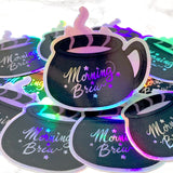 [WATERPROOF] Holographic Morning Brew Vinyl Decal