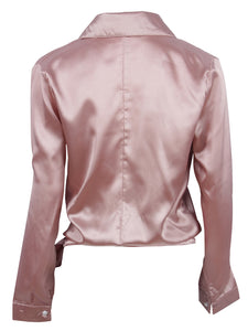 Satin Knotted Hem Surplice Blouse