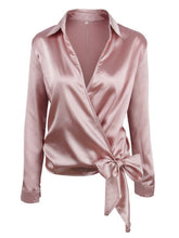 Load image into Gallery viewer, Satin Knotted Hem Surplice Blouse