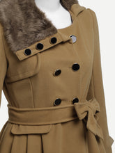 Load image into Gallery viewer, Contrast Faux Fur Collar Double Layered Hem Coat