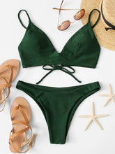 Load image into Gallery viewer, Knot Back Solid Bikini Set