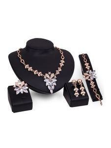 Rhinestone Necklace & Earrings & Bracelet & Ring