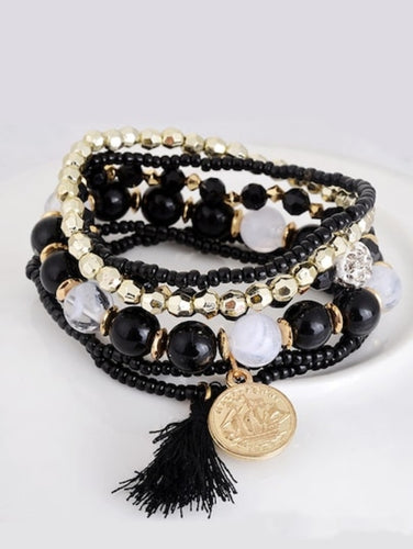 Coin & Tassel Layered Beaded Bracelet