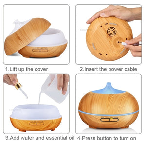 300ml Aroma Essential Oil Diffuser Wood Grain